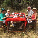 Ro London, Meru National Park, bush breakfast with John Rendall & friends.