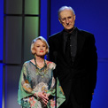 Ro London - Tippi Hedren wearing White Tiger silk gown with James Cromwell